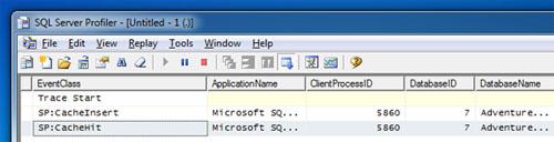 Volvemos a invocar a nuestro procedimiento almacenado con los mismos valores para los parámetros de entrada, obteniendo las mismas conclusiones. Si revisamos la Traza de SQL Profiler, podremos observar que en la primera invocación se generó el Plan de Ejecución y se cacheo en memoria (CacheInsert), mientras que en la segunda ejecución se reutilizó el Plan de Ejecución existente en la Cache (CacheHit).