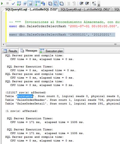 Si revisamos la salida de mensajes teniendo las estadísticas de IO activadas (SET STATISTICS IO ON), podemos observar que se ha creado una Tabla de Trabajo (Work Table) sobre TEMPDB, aunque no se han producido escrituras ni lecturas sobre la misma.