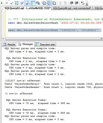 Si revisamos la salida de mensajes teniendo las estadísticas de IO activadas (SET STATISTICS IO ON), podemos observar que en esta ocasión NO se ha creado una Tabla de Trabajo (Work Table) sobre TEMPDB, a diferencia de cuando se estaba utilizando el operador Hash Match.