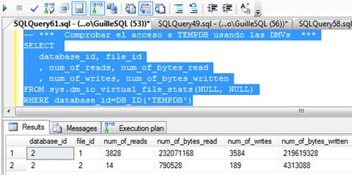 Si volvemos a consultar la DMV sys.dm_io_virtual_file_stats para identificar las lecturas y escrituras realizadas sobre TEMPDB, podremos comprobar que el número de lecturas y escrituras sobre TEMPDB ha aumentado. De cajón.