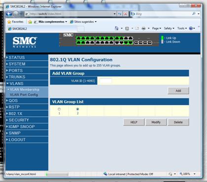 Comprobaremos la membresía de la VLAN ID 2, seleccionándola, y click sobre Modify.