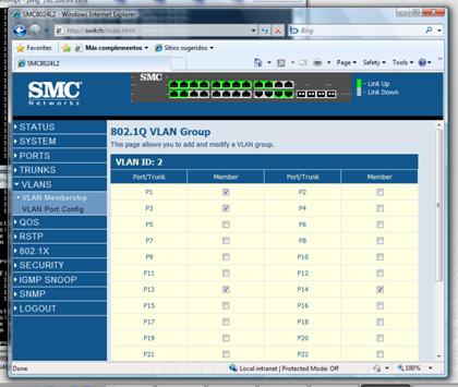Seleccionaremos los puertos 13 y 14, como miembros de la VLAN ID 2, y aplicamos los cambios.