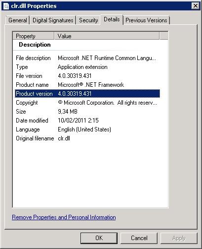 Comprobando la versión de la librería clr.dll indicada en el anterior mensaje de error, encontramos que se trata de la versión 4.0.30319.431