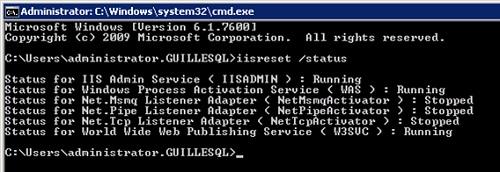 Al comprobar el estado del IIS con el comando IISRESET status, se mostraba claramente que había varios servicios parados: NetMsmqActivator, NetPipeActivator, y NetTcpActivator
