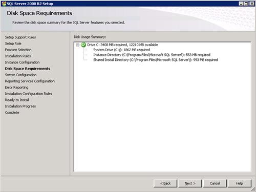 En la pantalla Disk Space Requirements comprobaremos que tenemos espacio suficiente