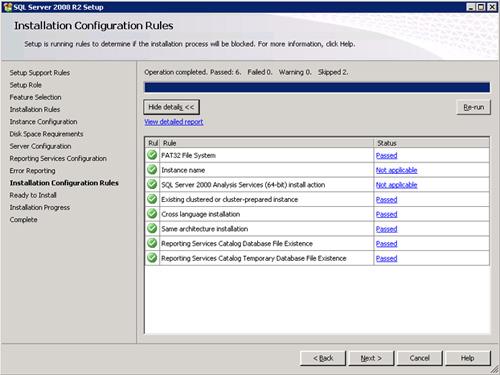 En la pantalla Installation Configuration Rules, comprobaremos que no se muestra ningún error