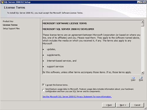 En la pantalla License Terms, aceptamos los términos de licencia. Click en Next