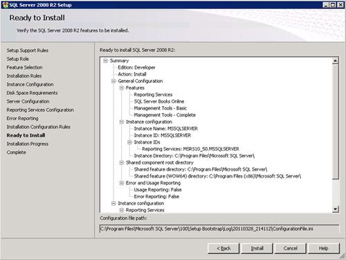 En la pantalla Ready to Install, revisamos la información de resumen de la instalación