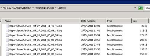 Tras instalar Reporting Services 2008 R2, los únicos ficheros de Log que generará nuestro sistema (recordemos que la ruta por defecto es C:\Program Files\Microsoft SQL Server\MSRS10_50.MSSQLSERVER\Reporting Services\LogFiles) son los Report Server Service Trace Log