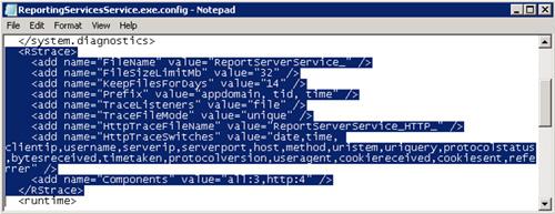 Para la configuración del fichero ReportingServicesService.exe.config, deberemos añadir un par de líneas al fichero de configuración (HttpTraceFileName y HttpTraceSwitches) y modificaremos la última línea (Components)
