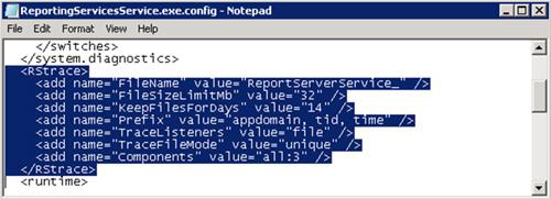 Para habilitar los Report Server HTTP Log, deberemos modificar el fichero de configuración ReportingServicesService.exe.config, existente por defecto en la ruta C:\Program Files\Microsoft SQL Server\MSRS10_50.MSSQLSERVER\Reporting Services\ReportServer\bin