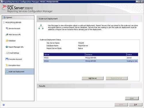 Abrimos la herramienta administrativa Reporting Services Configuration Manager, nos conectamos a la Instancia local de Reporting Sevices, y nos situamos en la página de Scale-out Deployment