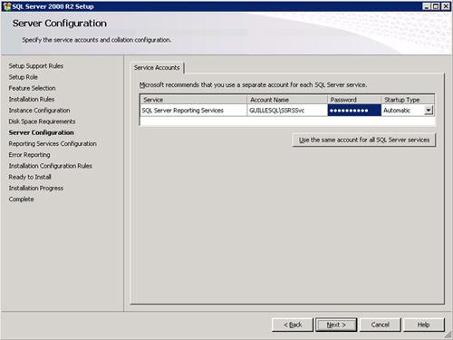 En la pantalla Server Configuration, especificaremos las credenciales que deseamos utilizar para iniciar el servicio de Reporting Services
