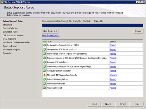 En la pantalla Setup Support Rules, comprobar que no se muestra ningún error