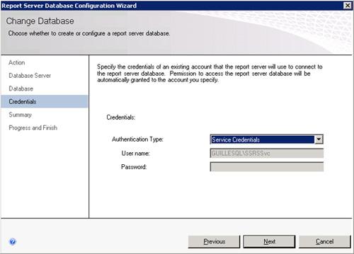 En la página Credentials, deberemos seleccionar con qué cuenta de usuario deseamos que se realice la conexión del servicio de Reporting Services a SQL Server
