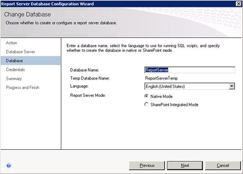En la página Database, especificaremos el nombre de la base de datos que deseamos crear, así como el idioma y el Modo (Nativo o integrado en SharePoint)