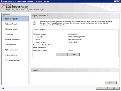 Se muestra la pantalla principal del Reporting Services Configuration Manager