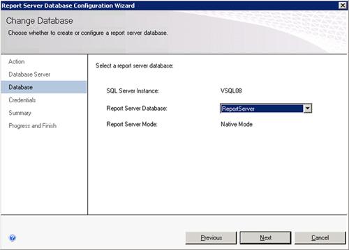 En la página Database, seleccionaremos la base de datos correspondiente a la Granja de Reporting Services