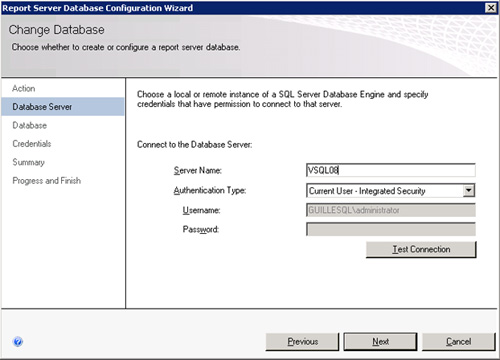 En la página Database Server, deberemos seleccionar la Instancia de SQL Server que almacena las bases de datos de Reporting Services