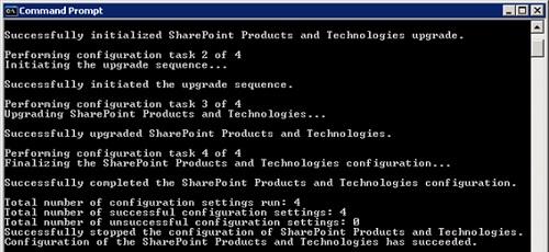 Ahora, con todas las Bases de Datos de Contenido quitadas de SharePoint, volví a ejecutar el SharePoint Products and Technologies Wizard (psconfig.exe), y en esta ocasión, su ejecución finalizó con éxito. Genial !  Ya tenemos instalado el Service Pack 3 de SharePoint 2007 ! Bueno, o casi, ya que no tenemos ninguna de nuestras 400 Colecciones de Sitio ;-)