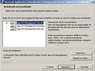 Seleccionar que componentes del App-V Management Server deseamos instalar