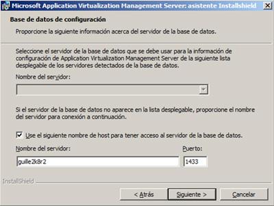 Seleccionamos la instancia de SQL Server que deseamos utilizar como Data Store del App-V Management Server