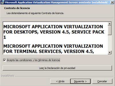Aceptamos los términos de licencia del App-V Management Server