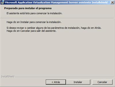 Preparados para instalar el App-V Management Server