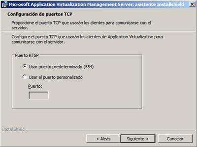Especificar el puerto deseado para utilizar por el protocolo de Streaming RTSP