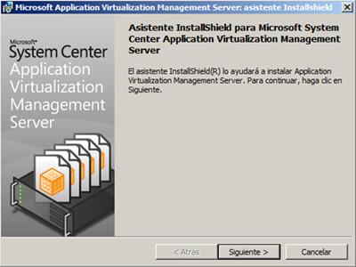 Pantalla de bienvenida del asistente de instalación del App-V Management Server