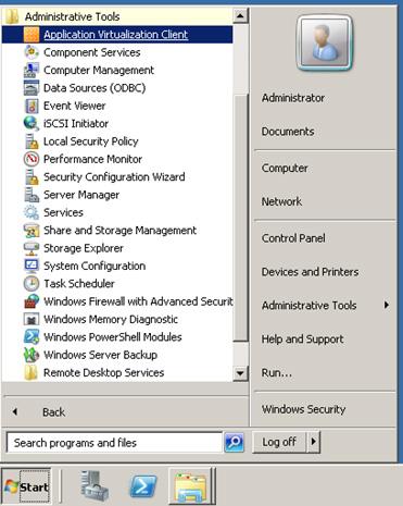 Tras esto, tendremos una nueva herramienta administrativa disponible, el Application Virtualization Client
