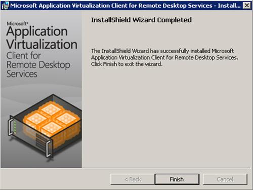 En breves instantes, el Cliente App-V for RDS habrá quedado instalado