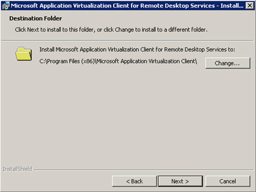 En la pantalla Destination Folder, especificaremos la ruta sobre la que deseamos instalar el Cliente App-V for RDS