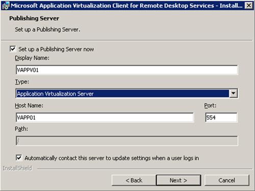 En la pantalla Publishing Server, es posible especificar un Servidor de Publicación de App-V