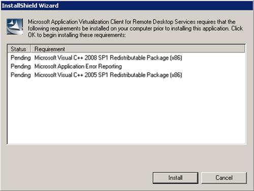 Al ejecutar el EXE (setup.exe), quizás sea necesario realizar la instalación de algunos requisitos. En caso de ser así, click Install