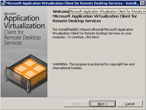 En la pantalla de bienvenida de la instalación del Cliente App-V for RDS, click Next para continuar