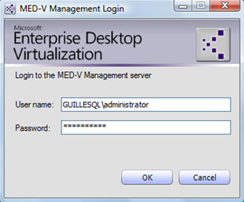 Al entrar al MED-V Management Console, se nos solicitará unas credenciales de acceso