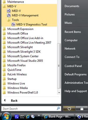Tras todo esto, tendremos nuevos iconos disponibles, entre ellos, el correspondiente al MED-V Management Console.