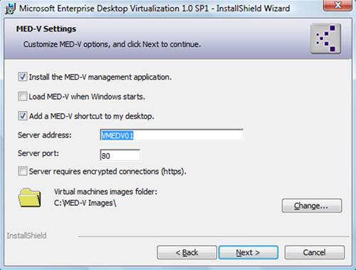 En la pantalla MED-V Settings, marcamos la opción Install the MED-V management application, y especificamos el nombre del MED-V Server. En esta pantalla, también es importante especificar correctamente la ruta para el almacenamiento de imágenes MED-V, ya que por defecto especificará el disco C, lo cual puede no ser recomendable