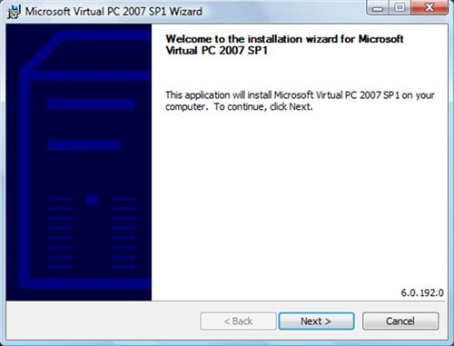 En la pantalla de bienvenida del instalador de Microsoft Virtual PC 2007, click Next para continuar