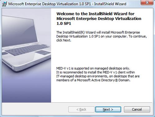 En la pantalla de bienvenida del asistente de instalación del Cliente MED-V v1.0 SP1, click Next para continuar.