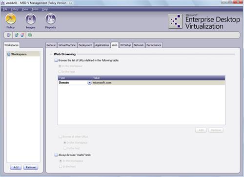 Pestaña Web del Workspace