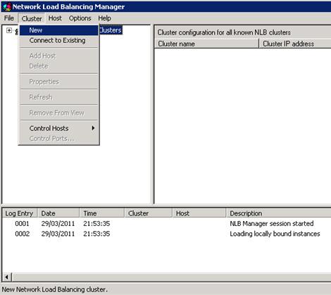 Abrir la herramienta administrativa Network Load Balancing Manager, y seguidamente, click en la opción New del menú Cluster
