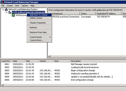 En la herramienta administrativa Network Load Balancing Manager, click con el botón derecho sobre el Cluster que acabamos de crear, y seleccionaremos la opción Add Host to Cluster del menú contextual