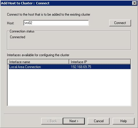 En el diálogo Add Host to Cluster : Connect, deberemos especificar el nombre de la máquina que deseamos agregar al Cluster NLB