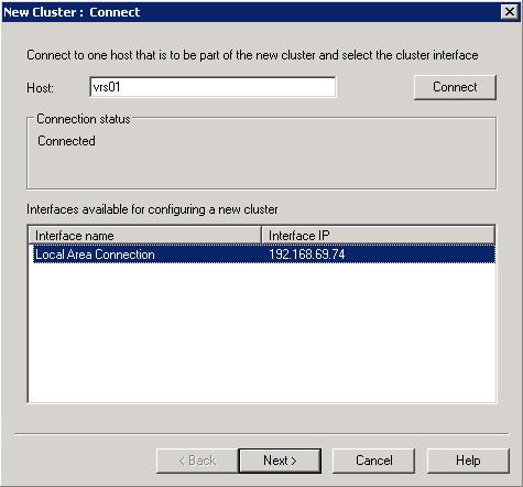 En el diálogo New Cluster : Connect, deberemos especificar el nombre de la máquina sobre la que deseamos crear el Cluster NLB (en nuestro caso VRS01), y seguidamente click en Connect