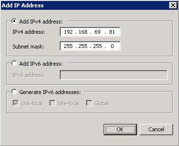 En el diálogo Add IP Address, seleccionaremos la dirección IP y máscara deseadas