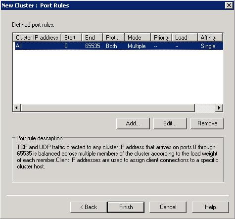 En el diálogo New Cluster : Port Rules editar la regla de por defecto