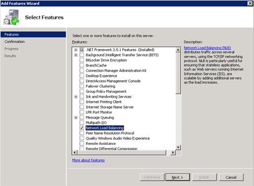 En la pantalla Select Features, seleccionaremos de la lista el elemento Network Load Balancing