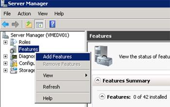 Abrimos la herramienta administrativa Server Manager, y seleccionamos la opción Add Features.